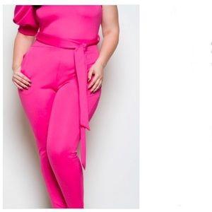 Quum   Fuchsia One Sleeve Plus Size Jumpsuit